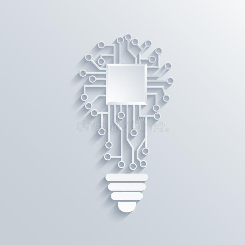 Vectorconcepten gloeilamp met kringsraad royalty-vrije illustratie