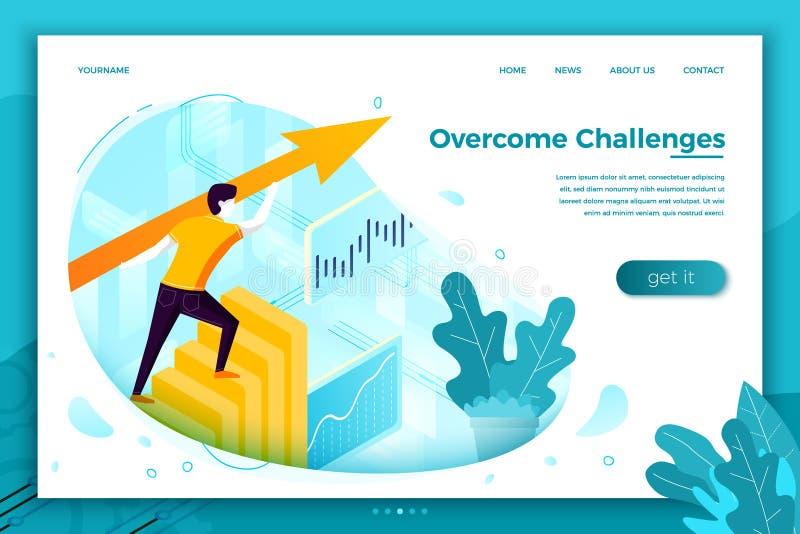 Vectorconceptenillustratie - overwonnen uitdagingen stock illustratie