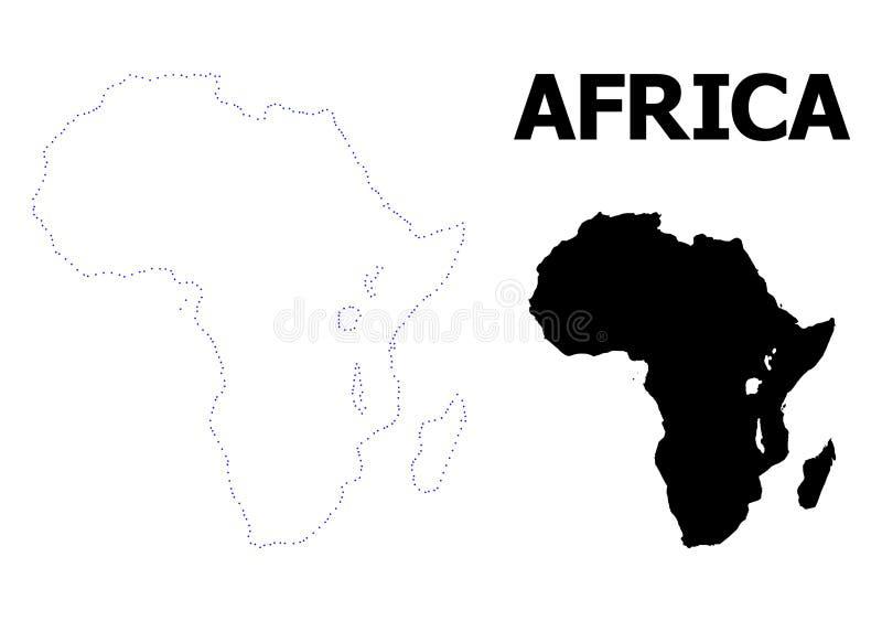 Vectorcontour Gestippelde Kaart van Afrika met Titel royalty-vrije illustratie