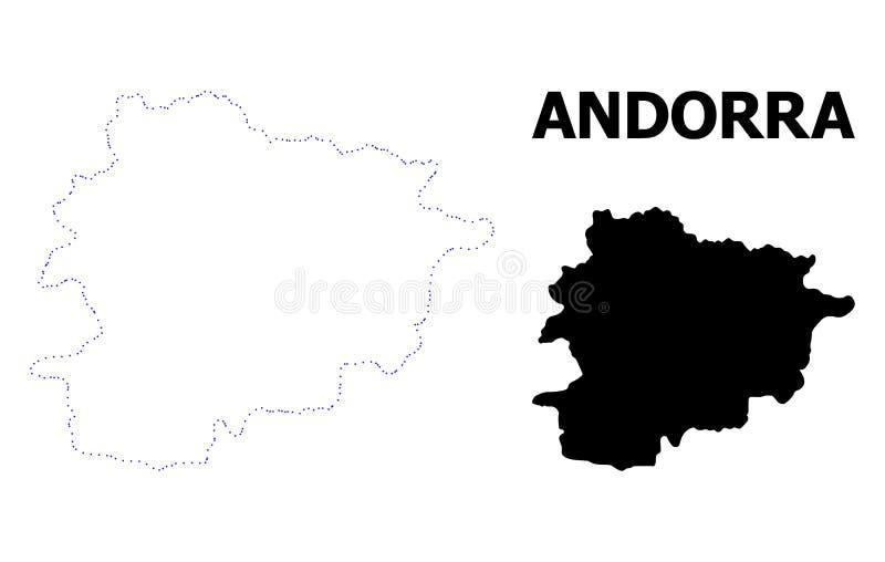 Vectorcontour Gestippelde Kaart van Andorra met Titel stock illustratie
