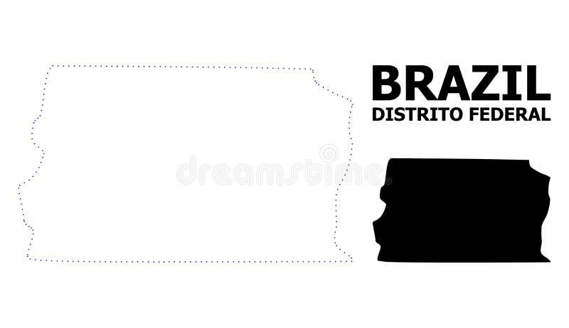 Vectorcontour Gestippelde Kaart van Brazilië - Distrito Federaal met Titel royalty-vrije illustratie