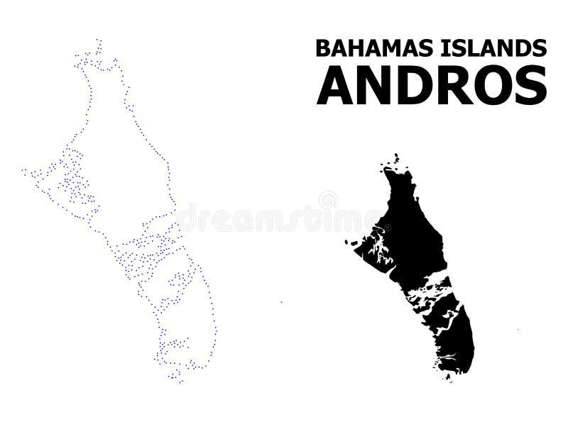 Vectorcontour Gestippelde Kaart van de Bahamas - Andros Eiland met Naam vector illustratie