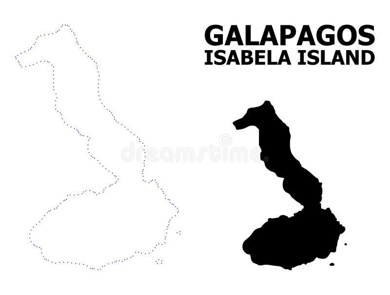 Vectorcontour Gestippelde Kaart van de Galapagos - Isabela Island met Naam stock illustratie