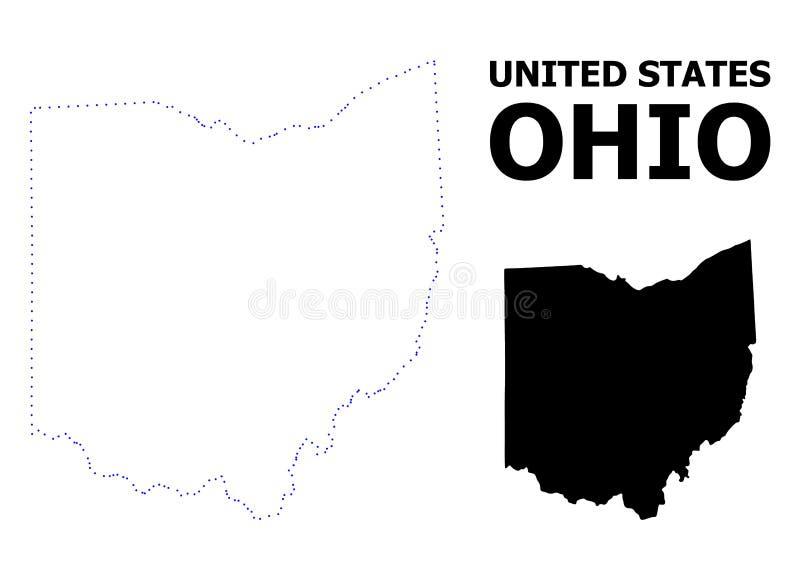 Vectorcontour Gestippelde Kaart van de Staat van Ohio met Titel vector illustratie