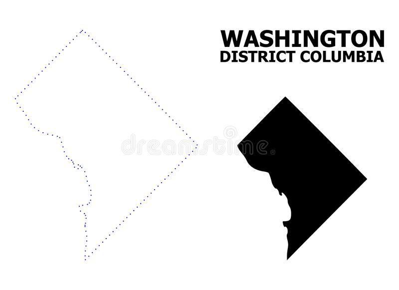 Vectorcontour Gestippelde Kaart van District Colombia met Titel royalty-vrije illustratie