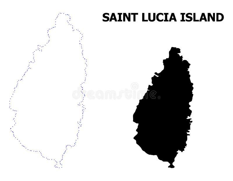 Vectorcontour Gestippelde Kaart van Heilige Lucia Island met Naam stock illustratie