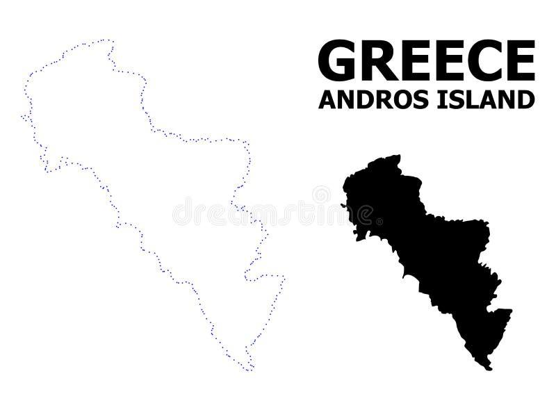 Vectorcontour Gestippelde Kaart van het Eiland van Griekenland - Andros met Naam stock illustratie