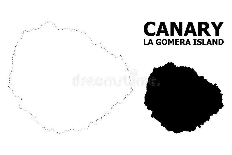 Vectorcontour Gestippelde Kaart van het Eiland van La Gomera met Naam stock illustratie