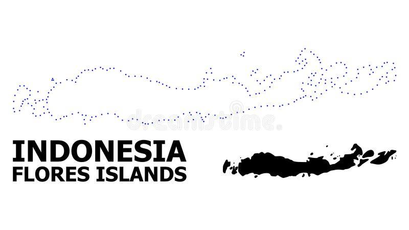 Vectorcontour Gestippelde Kaart van Indonesi? - Flores-Eilanden met Titel stock illustratie