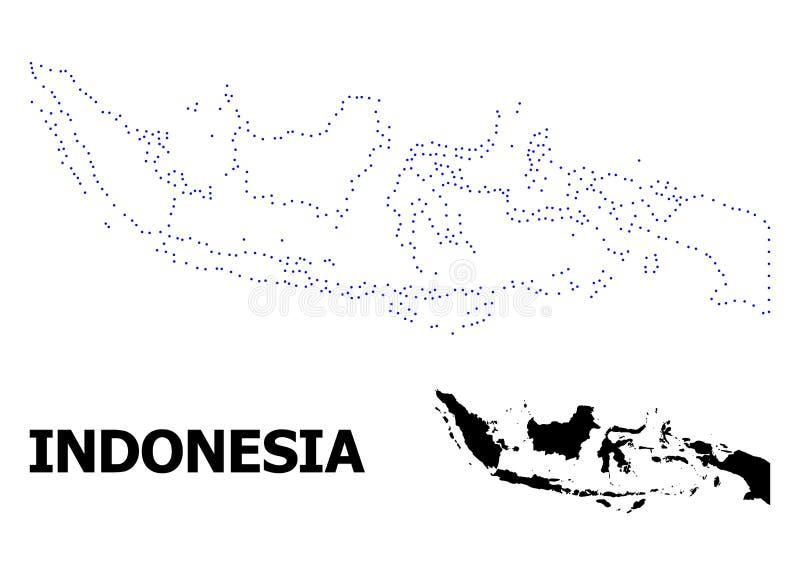 Vectorcontour Gestippelde Kaart van Indonesi? met Naam stock illustratie
