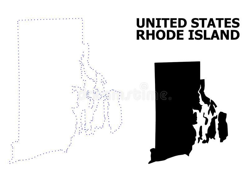 Vectorcontour Gestippelde Kaart van Rhode Island State met Naam vector illustratie