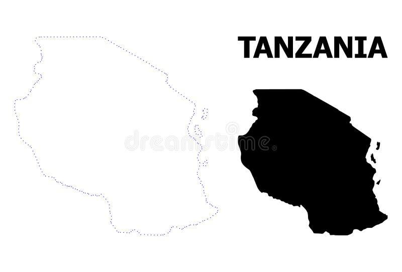 Vectorcontour Gestippelde Kaart van Tanzania met Naam vector illustratie
