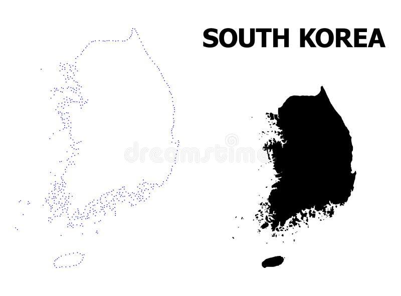 Vectorcontour Gestippelde Kaart van Zuid-Korea met Naam royalty-vrije illustratie