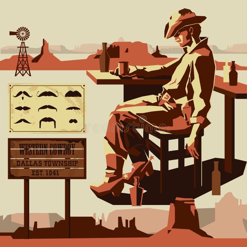 Vectorcowboy stock illustratie