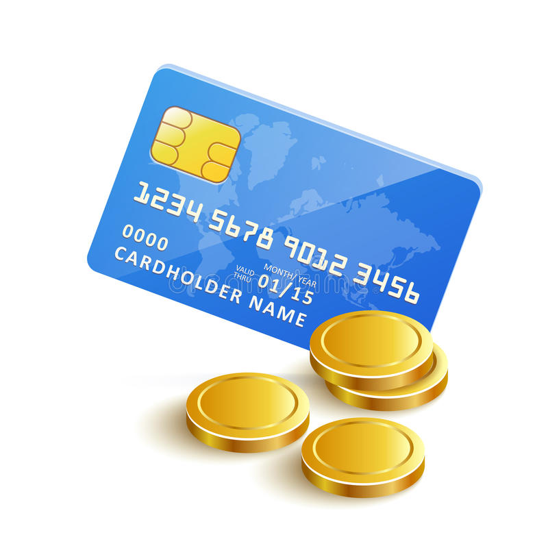 VectorCreditCardGoldCoins. Vector Credit Card Gold Coins Payment icon stock illustration