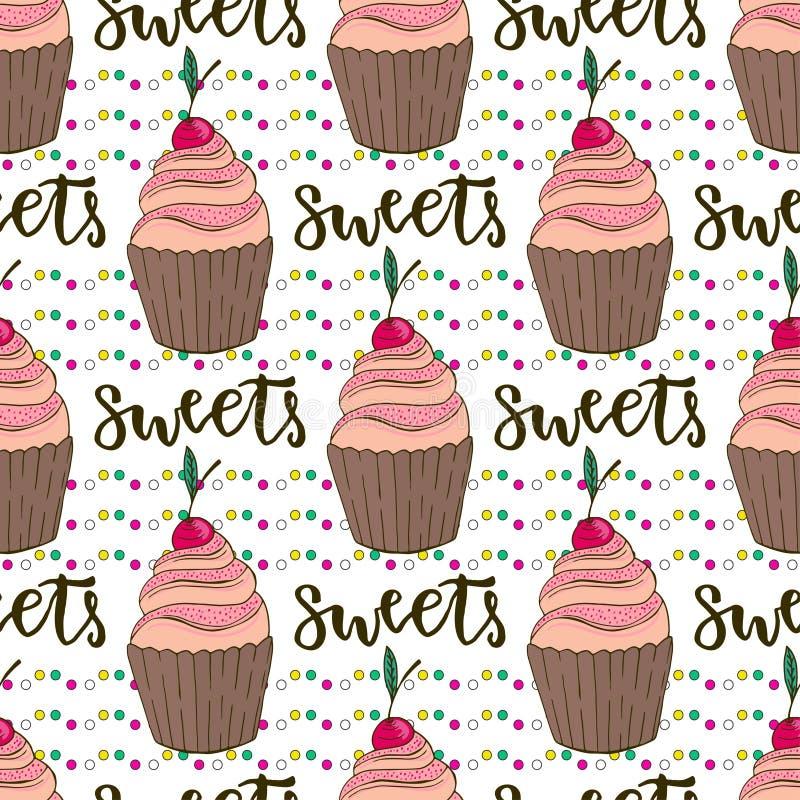 Vectorcupcakes naadloos patroon Krabbelachtergrond met snoepjescakes De decoratie van de verjaardag vector illustratie