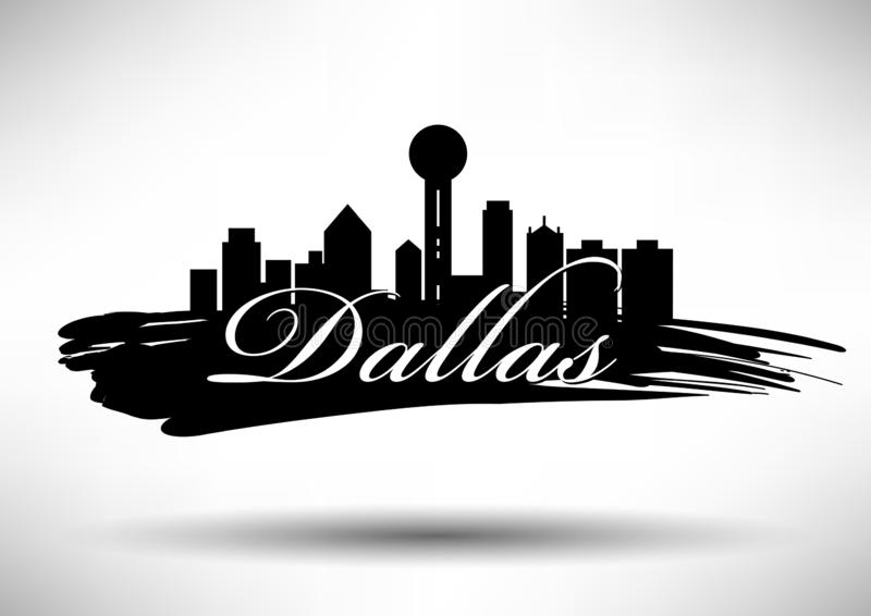Vectordallas city skyline design stock illustratie