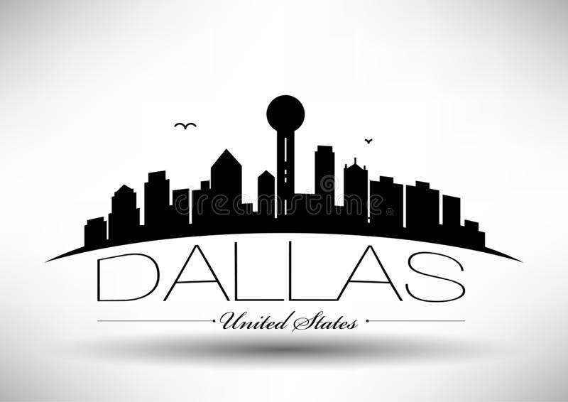 Vectordallas city skyline design vector illustratie