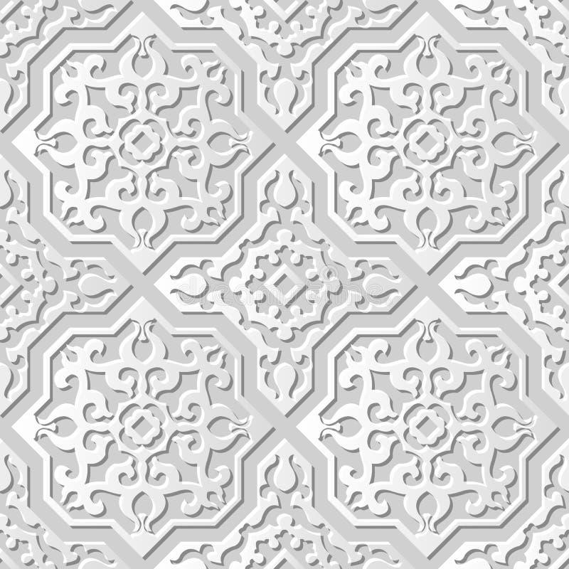 Vectordamast naadloze 3D document achtergrond 030 van het kunstpatroon Dwars Vierkante Spiraalvormige Caleidoscoop stock illustratie