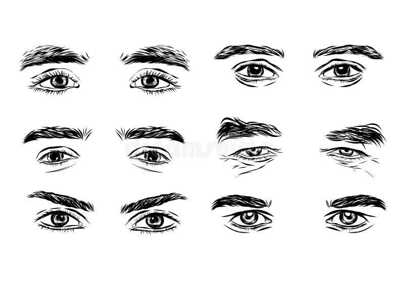 Vectordeel van de mannelijke persoonss ogen en de wenkbrauwen royalty-vrije illustratie