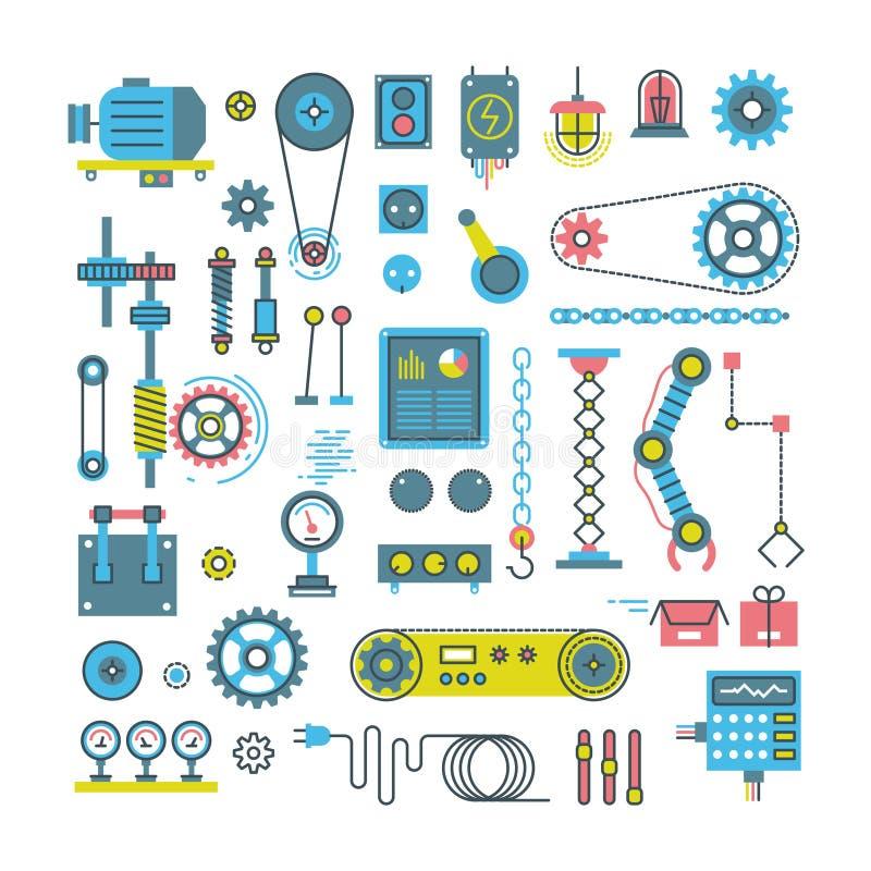 Vectordelen van mechanisme en robots vlakke pictogrammen stock illustratie