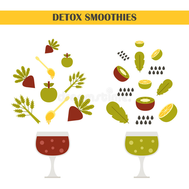 Vectordetox smoothies aannemer royalty-vrije illustratie