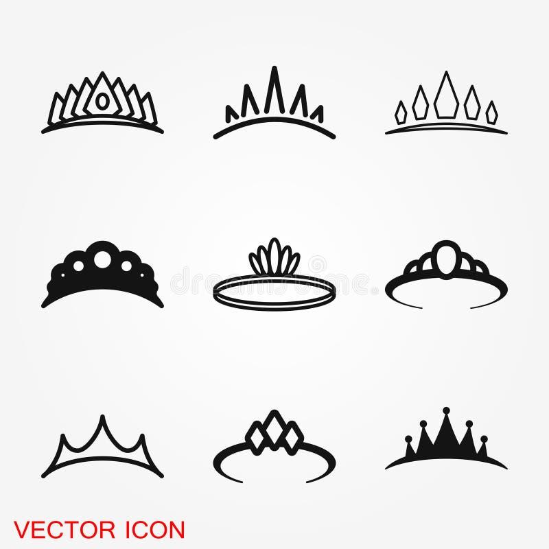 Vectordiadeempictogram in vlakke stijl De illustratiepictogram van de royaltykroon stock illustratie