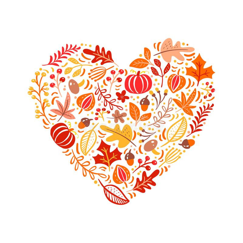 Vectordie de herfstelementen in hartliefde worden gemaakt Paddestoel, eikel, esdoornbladeren en pompoen op witte achtergrond word royalty-vrije illustratie