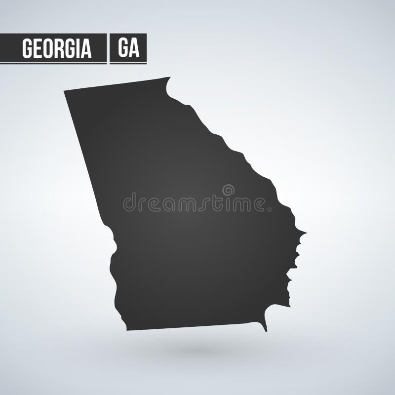 Vectordie de kaartsilhouet van Georgia State op witte achtergrond wordt geïsoleerd vector illustratie