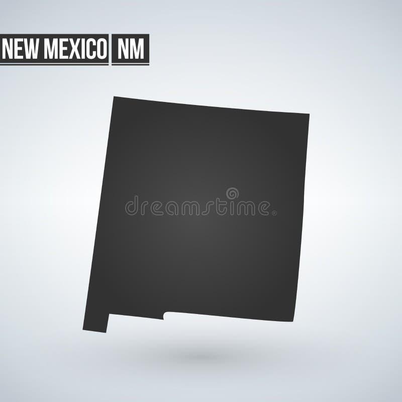 Vectordie de kaartsilhouet van New Mexico op witte achtergrond wordt geïsoleerd Hoog gedetailleerde illustratie Verenigde staat v vector illustratie