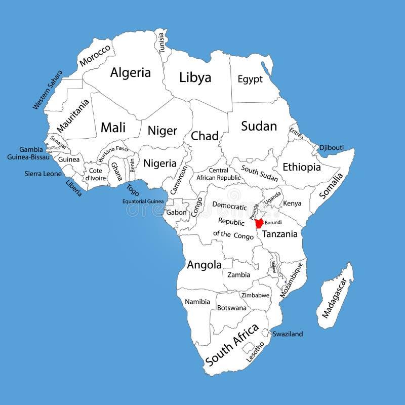 Vectordie de kaartsilhouet van de Republiek Burundi op de kaart van Afrika wordt geïsoleerd Editable vectorkaart van Afrika royalty-vrije illustratie