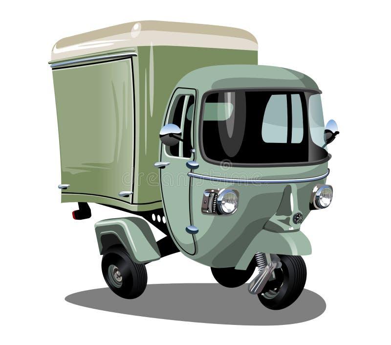 Vectordie de ladingsautoped van de beeldverhaallevering op wit wordt geïsoleerd stock illustratie