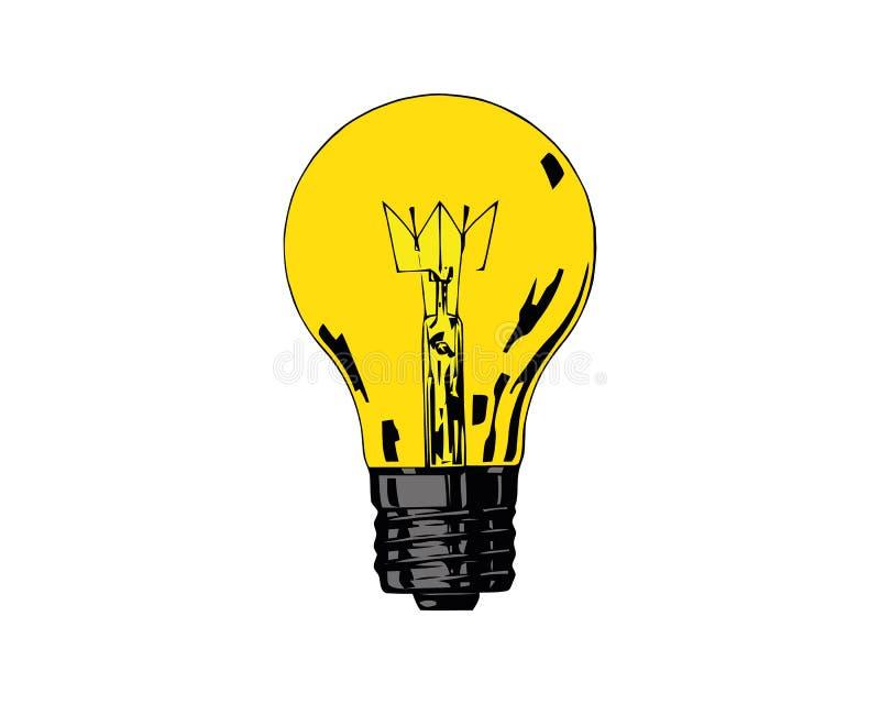 Vectordie gloeilamp op witte achtergrond wordt geïsoleerd Het pictogram van het lampidee, heeft bezwaar geel licht royalty-vrije illustratie