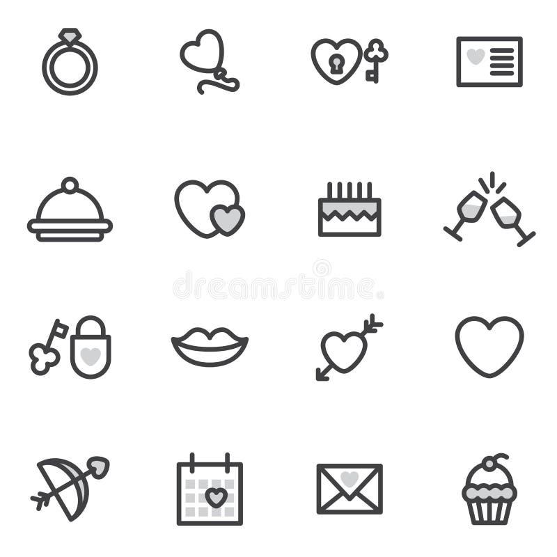 Vectordie het overzichtspictogrammen van Valentine Day in de moderne stijl worden uitgevoerd emblemen vector illustratie