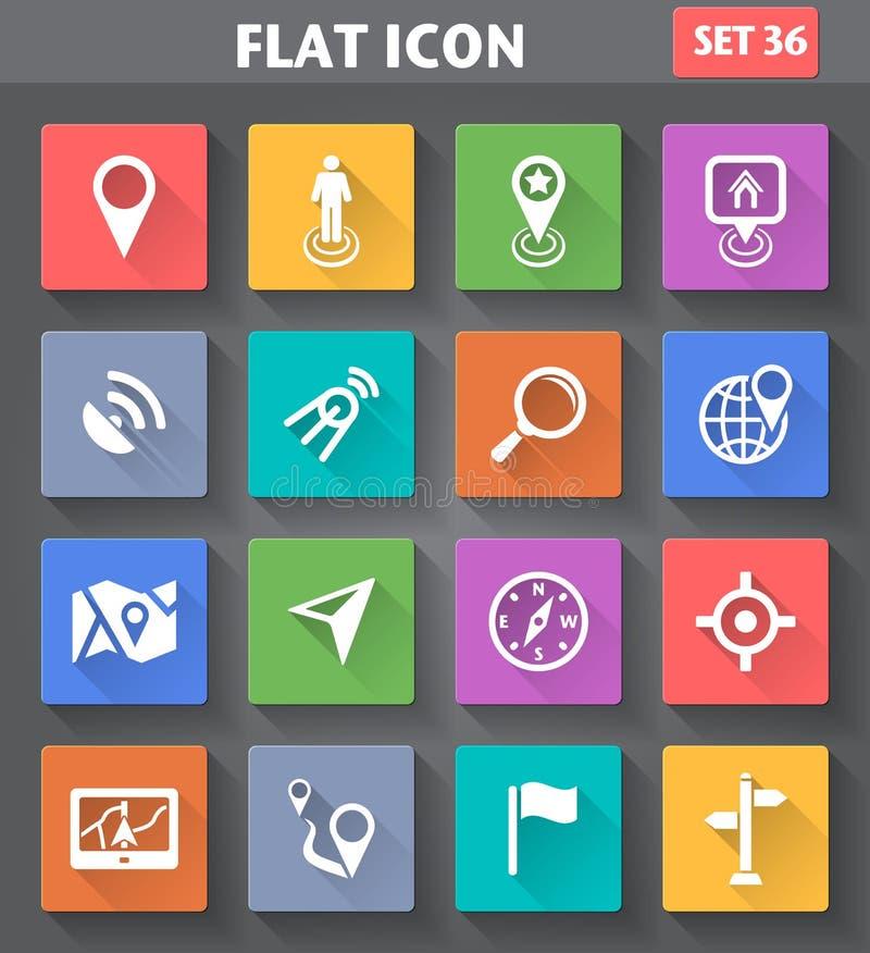 Vectordie van de van de toepassingsplaats, Navigatie en Kaart Pictogrammen in fla worden geplaatst stock illustratie