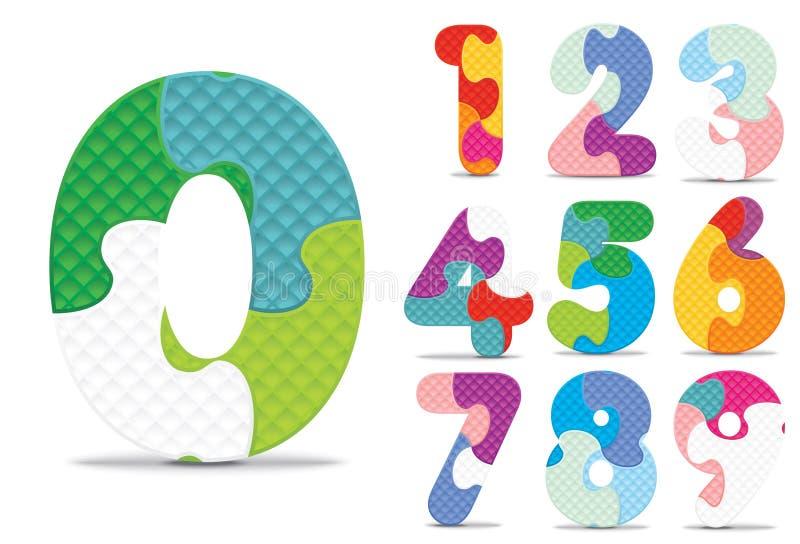 Vectordieaantallen met alfabetraadsel worden geschreven stock illustratie
