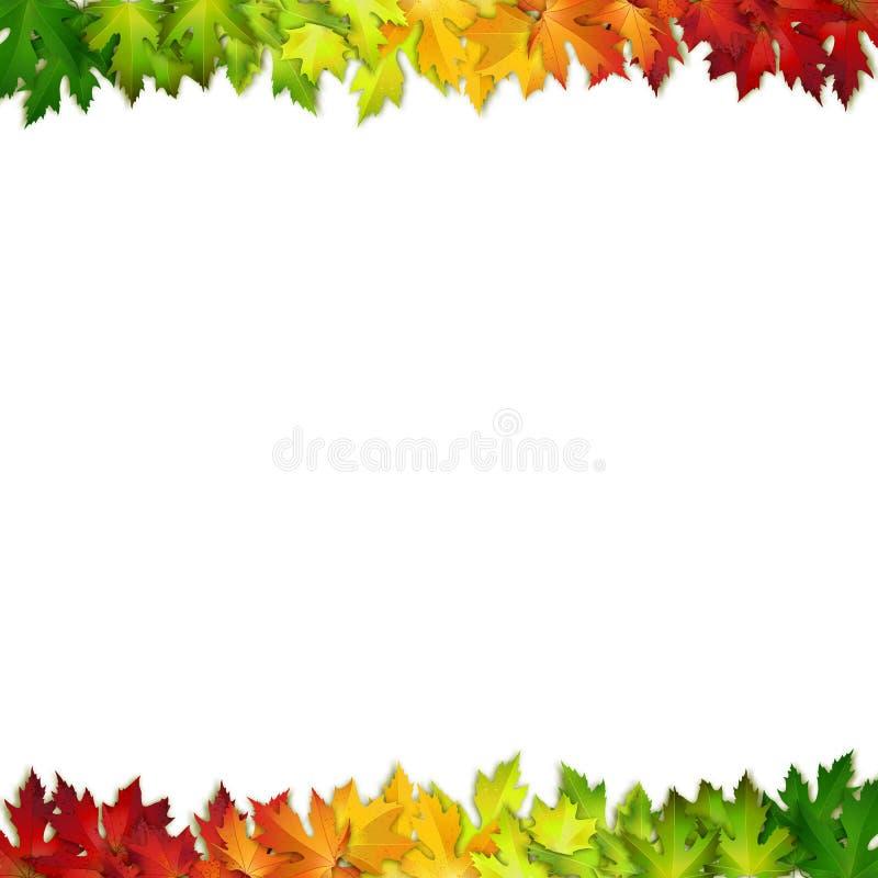 Vectordieachtergrond met kleurrijke de herfstbladeren wordt verfraaid royalty-vrije illustratie