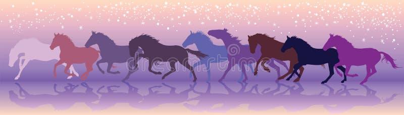 Vectordieachtergrond met paarden bij een galop in werking wordt gesteld royalty-vrije illustratie