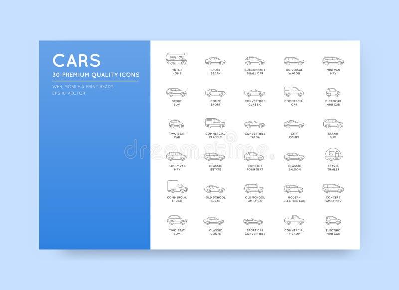 VectordieAutopictogrammen met Alle Autotypes en Namen worden geplaatst royalty-vrije illustratie