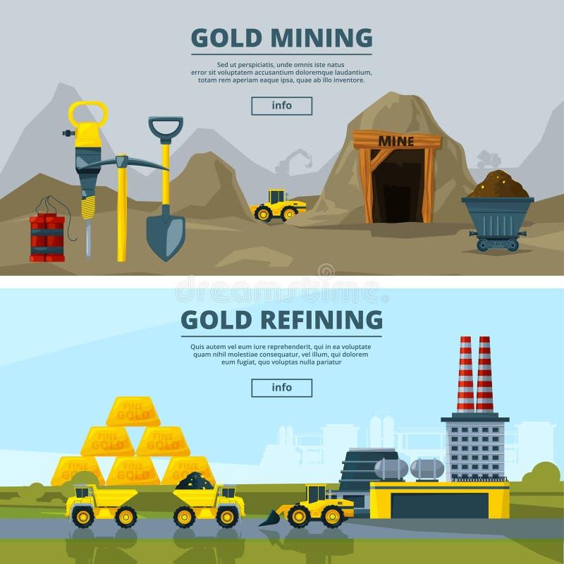 Vectordiebanners met illustraties van mijnbouw worden geplaatst vector illustratie