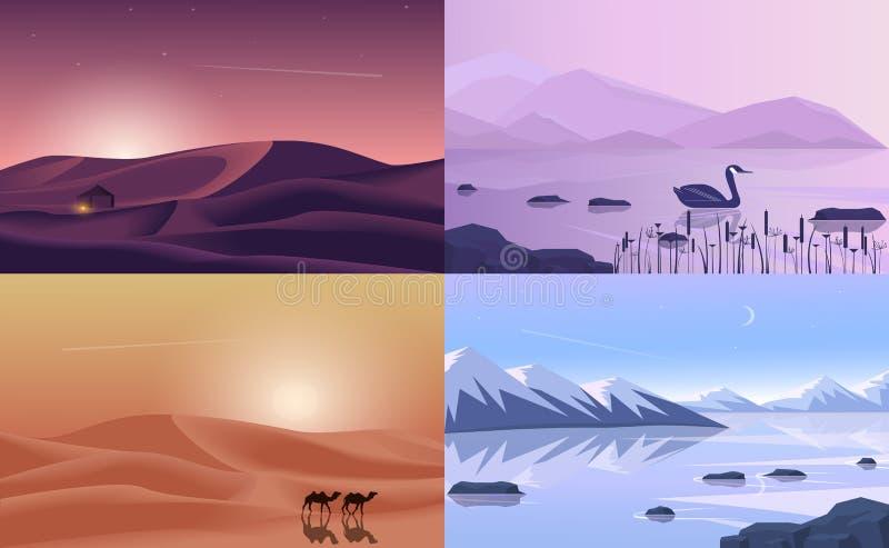 Vectordiebanners met veelhoekige landschapsillustratie worden geplaatst - vlak ontwerp Bergen, meerwoestijn royalty-vrije illustratie