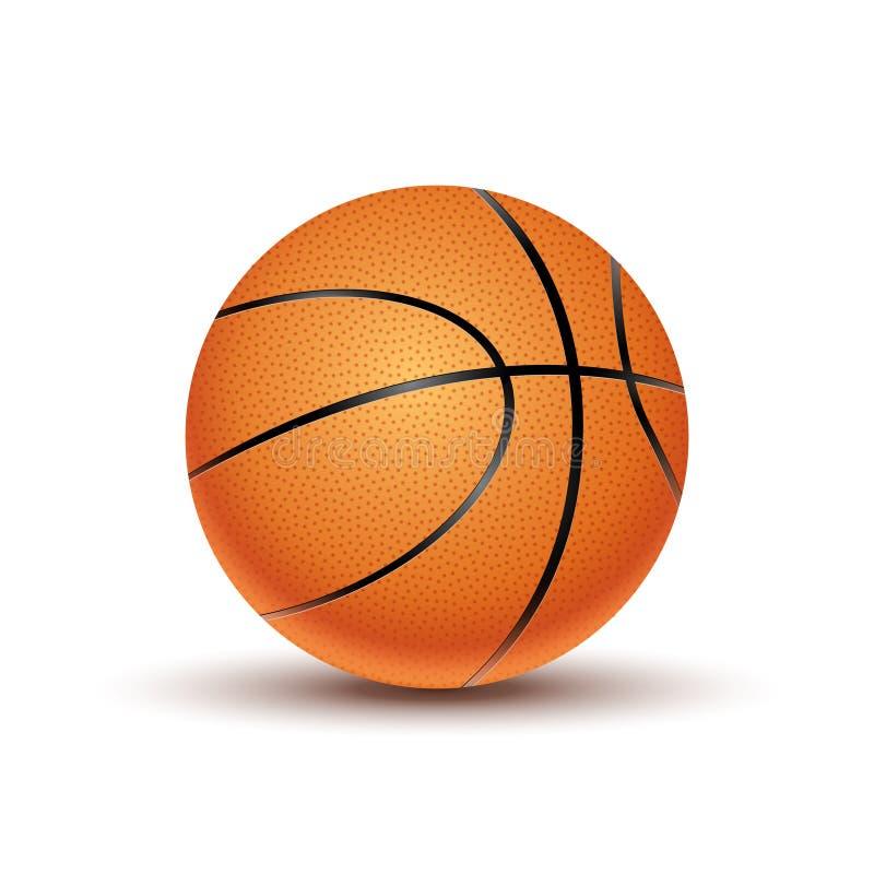 VectordieBasketbalbal op een witte achtergrond wordt geïsoleerd Het oranje symbool van het basketbalspel De activiteit van het sp vector illustratie