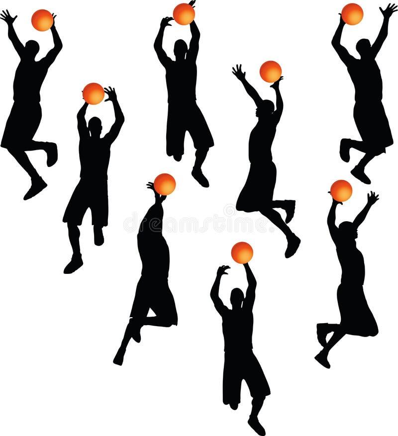 VectordieBeeld - de mensensilhouet van de basketbalspeler op witte achtergrond wordt geïsoleerd vector illustratie