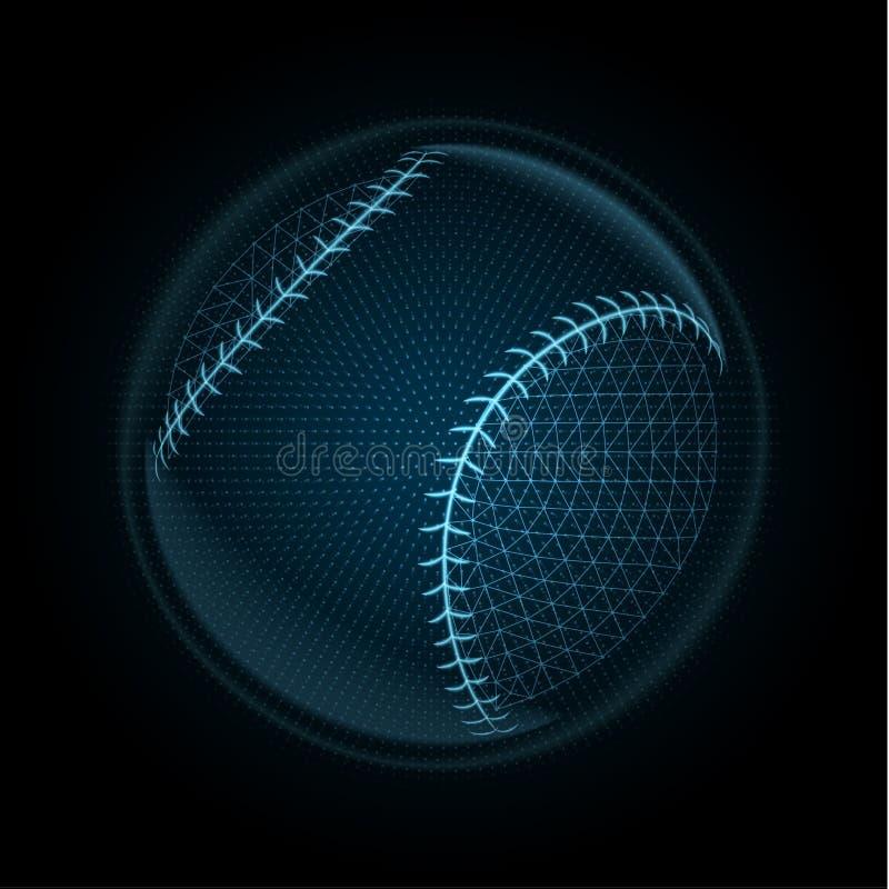 Vectordiebeeld van een honkbalbal van gloeiende lijnen & punten wordt gemaakt royalty-vrije illustratie