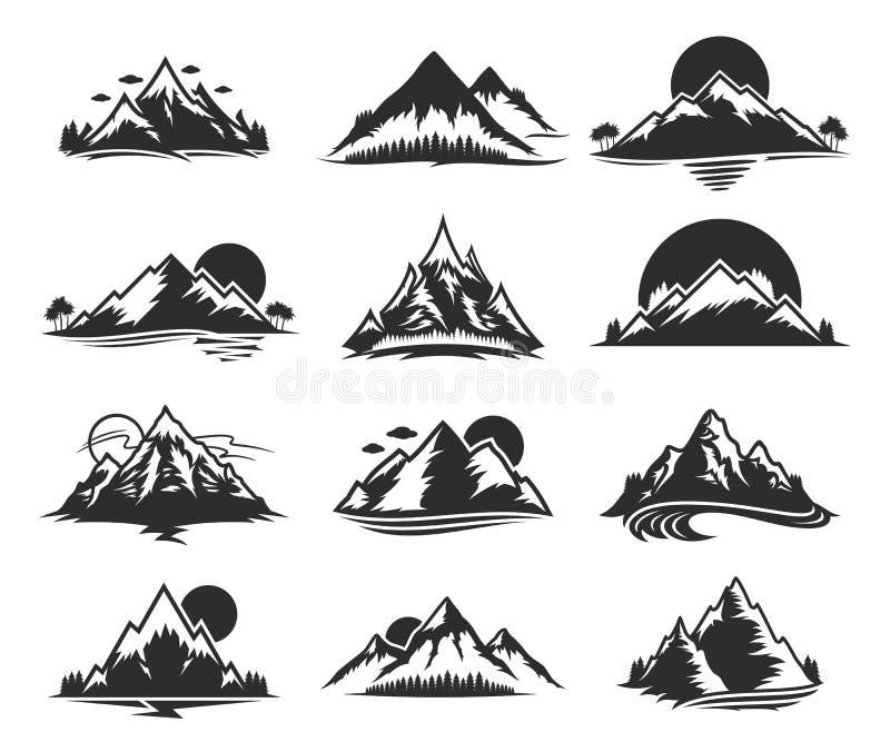 VectordieBergenpictogrammen op Wit worden geïsoleerd stock illustratie