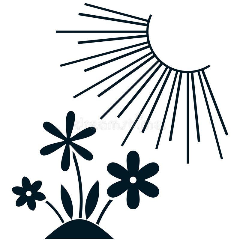 Vectordiebloemen onder zonillustratie op wit wordt geïsoleerd stock illustratie