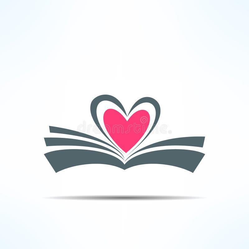 Vectordieboekpictogram met hart van pagina's wordt gemaakt Liefde stock illustratie