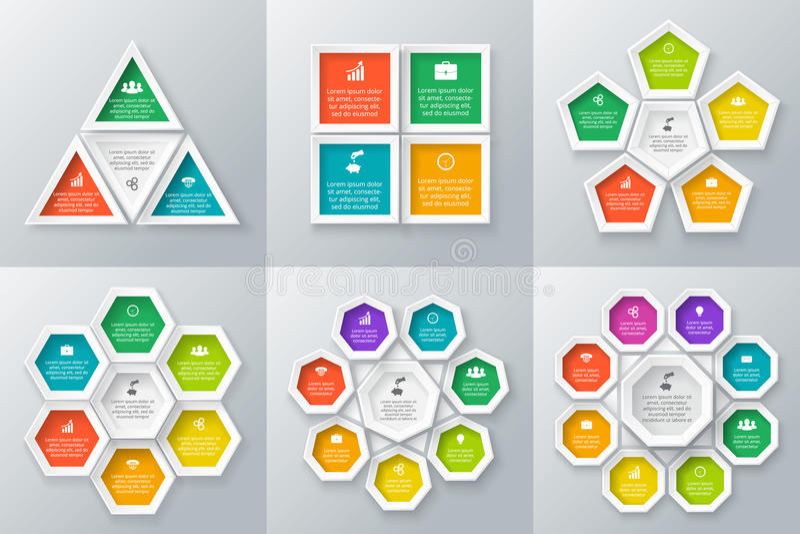 Vectordiecirkelelementen voor infographic worden geplaatst stock illustratie