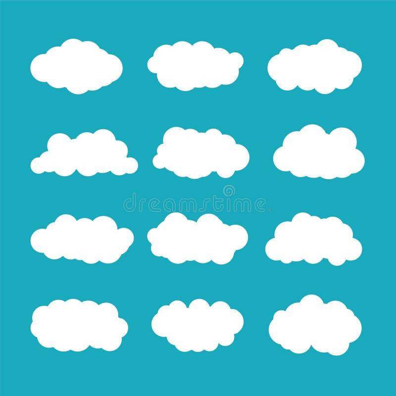 Vectordiecumuluswolken in vlakke stijl worden geplaatst vector illustratie