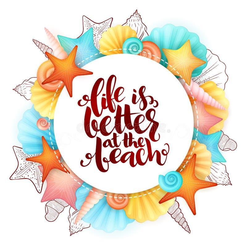 Vectordiehand het van letters voorzien de zomeruitdrukking - het leven is beter bij het strand - met zeeschelpen wordt omringd royalty-vrije illustratie